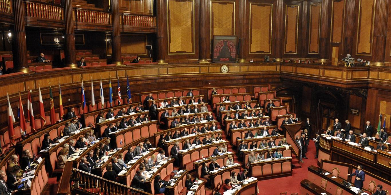 01/12/2014 Roma, Aula del Senato, il presidente del Consiglio Matteo Renzi interviene all'assemblea plenaria del COSAC